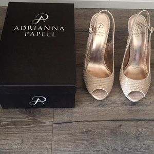 """Adrianna Papell Gold Sparkle 5"""" Heels"""
